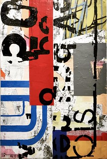 """ein bis ein - oil, acrylic and collage on panel - 24""""x36"""" 
