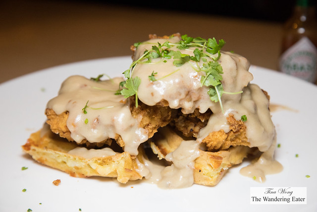 Chicken & Waffles - White cheddar waffles, applewood smoked bacon & gravy