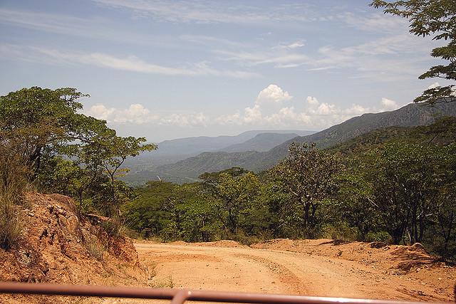 Driving down the Chimala Escarpment, leaving the Kitulo Plateau in southern Tanzania