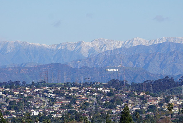 Snow above the Hollywood Sign