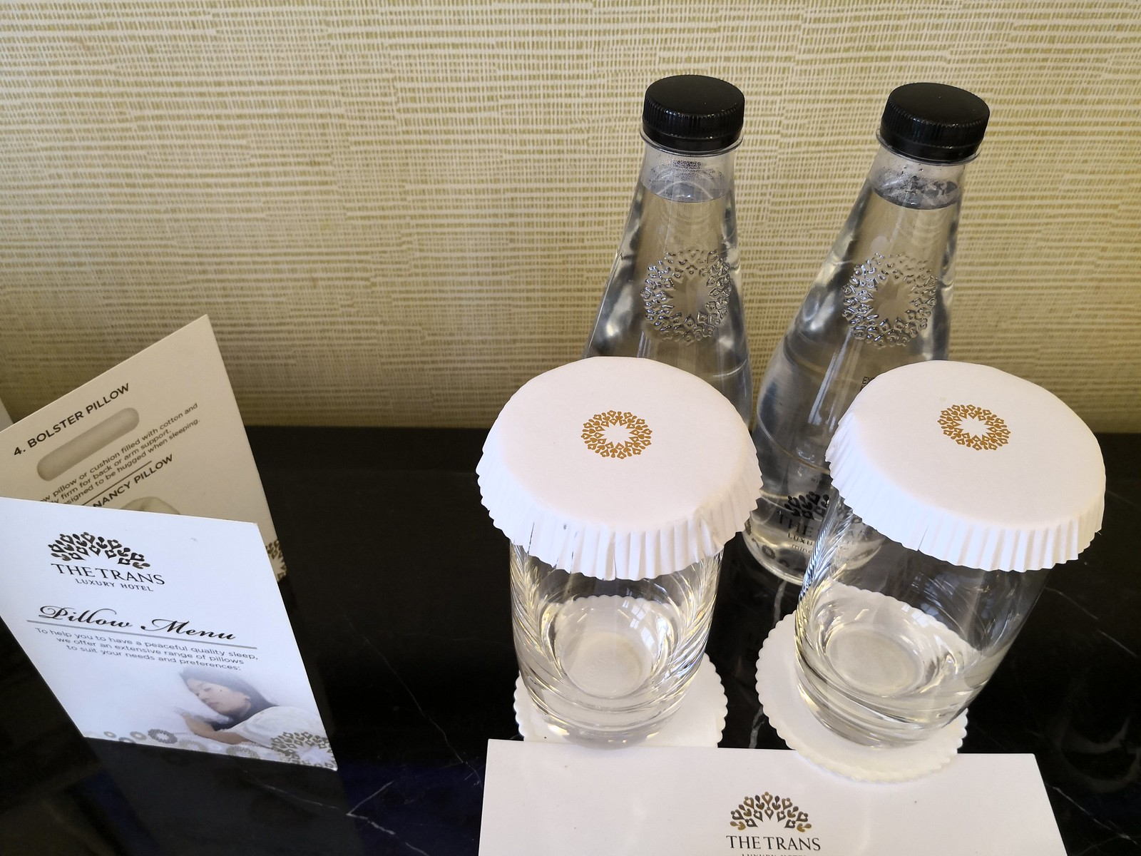 Bottled water and glasses