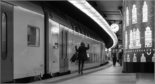 Let me in! (the 13:52h train) BW | by Dirk De Paepe
