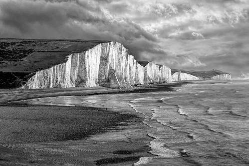 erith england unitedkingdom gb cliffs sea ocean clouds sky blackandwhite tide beach dramatic