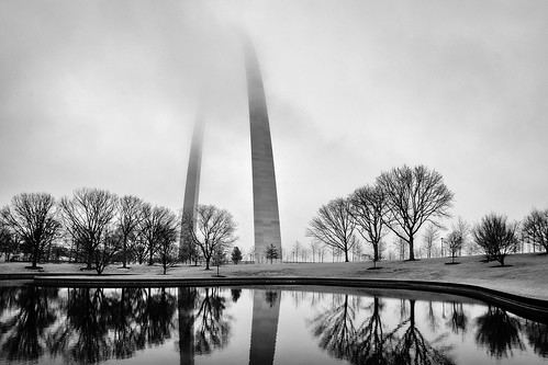 national nationalmonument monument water fog foggy winter trees tree cloudy clouds stl stlouis st louis arch blackandwhite bw highkey reflection pond lake outside frozen cold sunrise dawn dusck