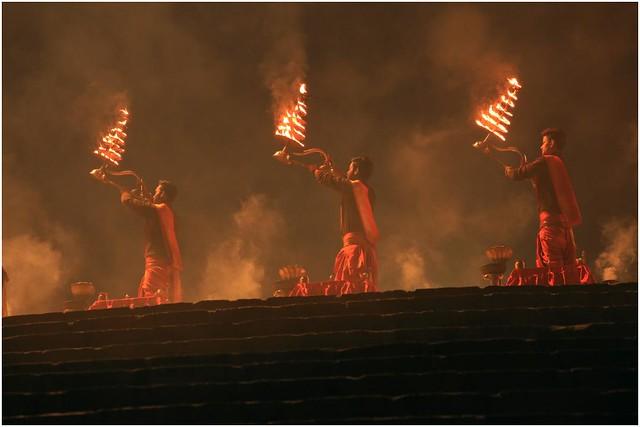 India Travel Photography: Aarti Ceremony, Nada Sadhus & burning Ghats at Varanasi 2019 Benares.006 by Hans Hendriksen