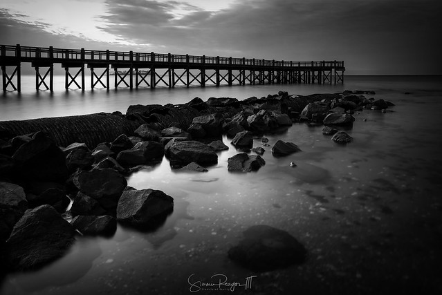 Walnut Beach Pier and Pipe No. 1 in Black and White
