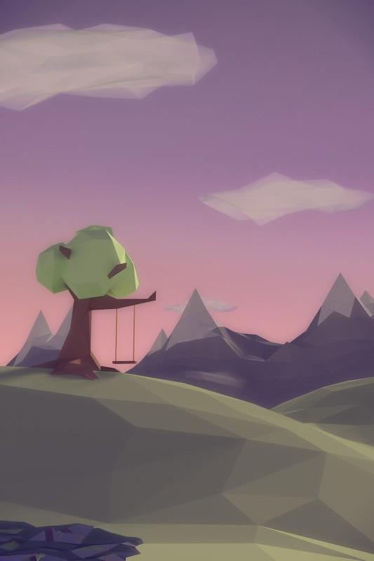 Обои полигон, рендеринг, пейзаж, качели, горы, дерево картинки на рабочий стол, фото скачать бесплатно