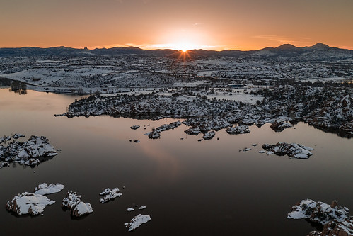 arizona lake prescott snow water watsonlake winter winterstorm winteraerial dells drone rocks snowing