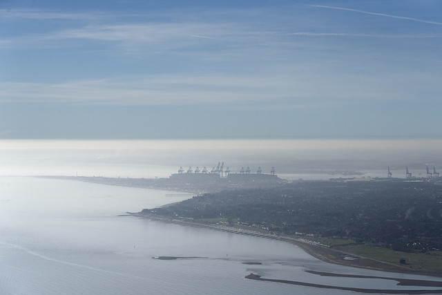 Felixstowe in the mist - Suffolk aerial