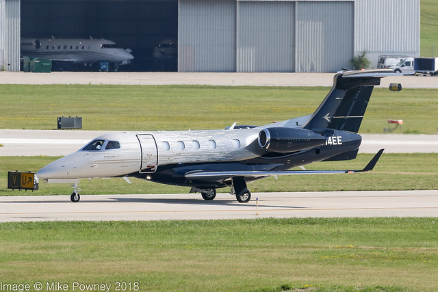 N314EE - 2018 build Embraer 505 Phenom 300E, taxiing to parking shortly after arrival at Milwaukee