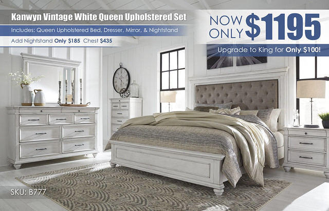 Kanwyn Vintage White Upholstered Bedroom Set_B777-158-56-MOOD-A