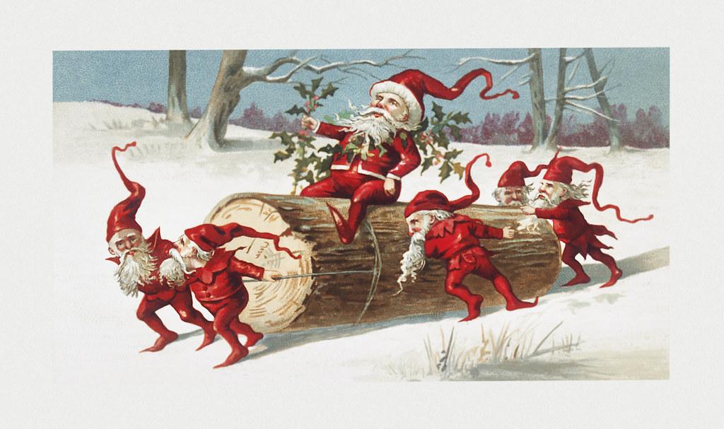 Christmas Illustrations Vintage.Vintage Santa Elves Christmas Illustration Santa Elves Sli