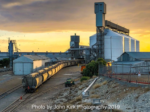 Sunrise over the silos at Port Lincoln, Mar 25 2019
