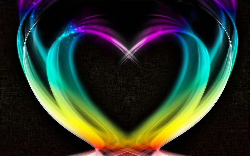 Обои сердце, радужный, дым, красочный картинки на рабочий стол, фото скачать бесплатно
