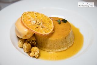 Meyer lemon flan, tangerine sorbet, suzette sauce | by thewanderingeater