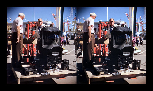 Director of photography Harry Squire, supervising the unloading of the front housing of the massive Cinerama camera - GM Powerama - Chicago, Illinois - September 7, 1955. | by ah_pook