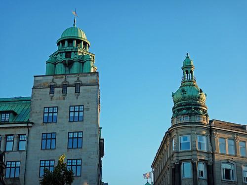 Copper-topped buildings in Copenhagen, Denmark