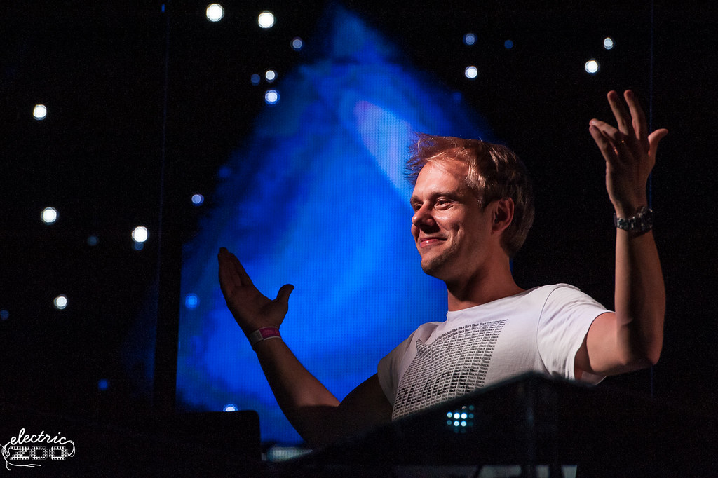 Armin van Buuren taking to the stage at Electric Zoo in 2014.