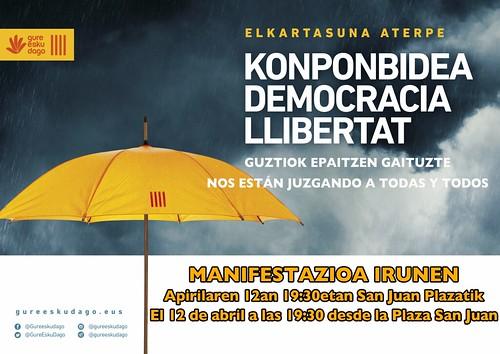 Cartel de la manifestación del 12 de abril organizada por Gure eskuz dago