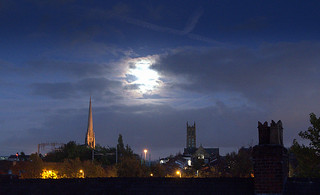 Moon behind the clouds over Preston | by Tony Worrall