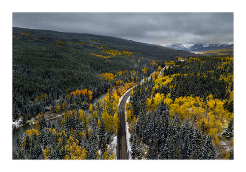 dji glaciernationalpark markmcleod markmcleodphotography mavic2pro montana aerial babb manyglacier autumn fall colour yellow mountain road moody