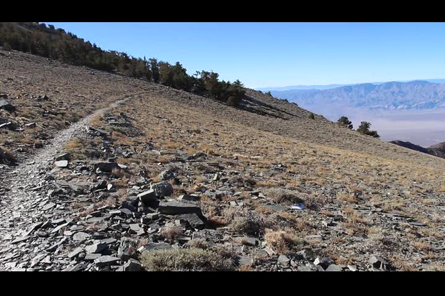0841 Panorama video from the windy ridge south of Rogers Peak on the Telescope Peak Trail