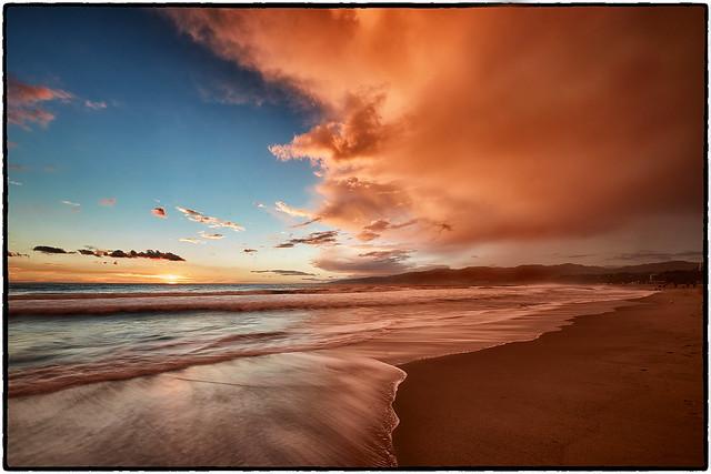 Santa Monica Beach at Sunset.