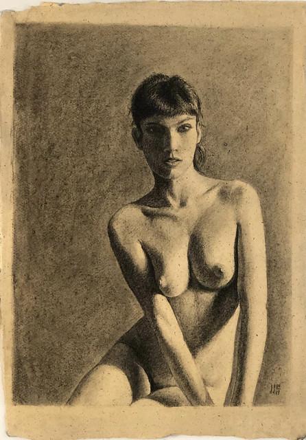 Eva, charcoal on Khadi paper