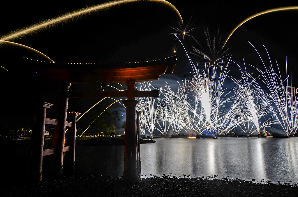 torii gate Epcot Illuminations bursts