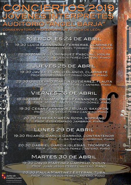 """CICLO DE CONCIERTOS DE JÓVENES INTÉRPRETES 2019 - CONSERVATORIO DE LEÓN - AUDITORIO """"ÁNGEL BARJA"""""""