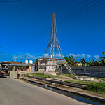A surviving Cuban replica of Eiffel Tower. In Caibarien city, January 2019