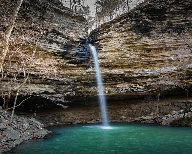 Lizard Log Falls. Brock Creek Recreation Area. Near Liberty, Arkansas.