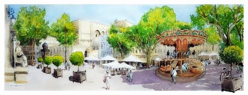 avignon provence france croquis sketch aquarelle watercolour watercolor aguarela acuarela panoramique panoramic ville arbres manège personnages palaisdespapes palais