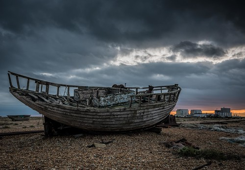 wreck topazclarity railway beach nikon dungeness derelict d7100 net tamron1024f3545diiivchld pebbles boat winter kent sunset clouds england bleak moody gloomy