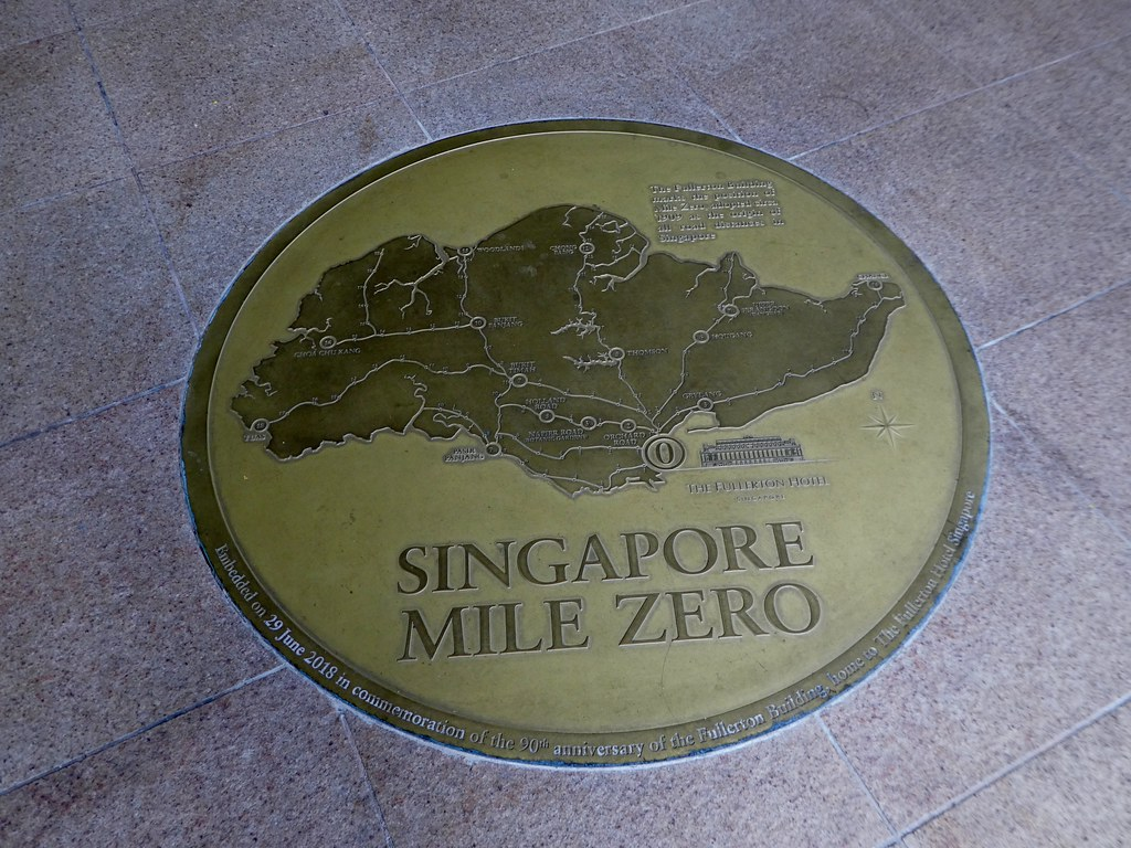 The Singapore Mile Zero plaque outside the Fullerton Hotel