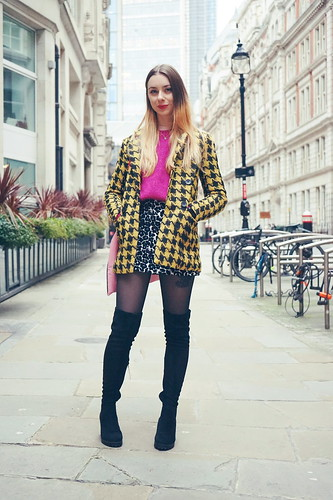 90s Check Jacket, knee high boots and a leopard print skirt 1 | by Chelsea Jade Loves