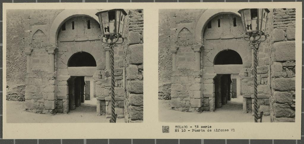 Puerta Vieja de Bisagra. Colección de fotografía estereoscópica Rellev © Ajuntament de Girona / Col·lecció Museu del Cinema - Tomàs Mallol