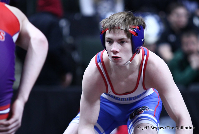 132A Semifinal - Jackson Hale (Grand Meadow-Leroy-Ostrander- Southland) 41-3 won in sudden victory - 1 over Dereck Ellingson (Tracy-Milroy-Balaton-Westbrook-Walnut-Grove) 44-5 (SV-1 6-4). 190302AJF0290