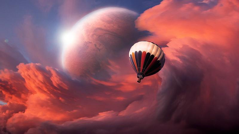 Обои аэростат, воздушный шар, небо, облака, полет, луна картинки на рабочий стол, фото скачать бесплатно