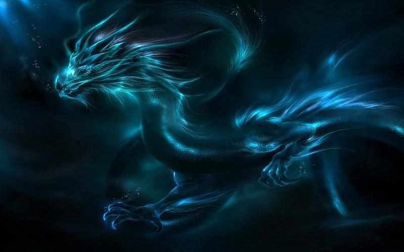 Обои дракон, узор, неон, тень картинки на рабочий стол, фото скачать бесплатно