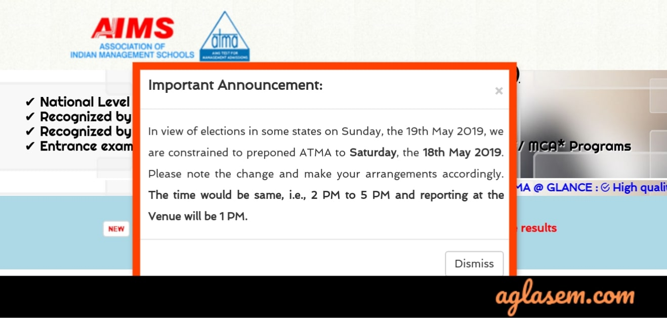 ATMA 2019 Exam Date Revised for May session