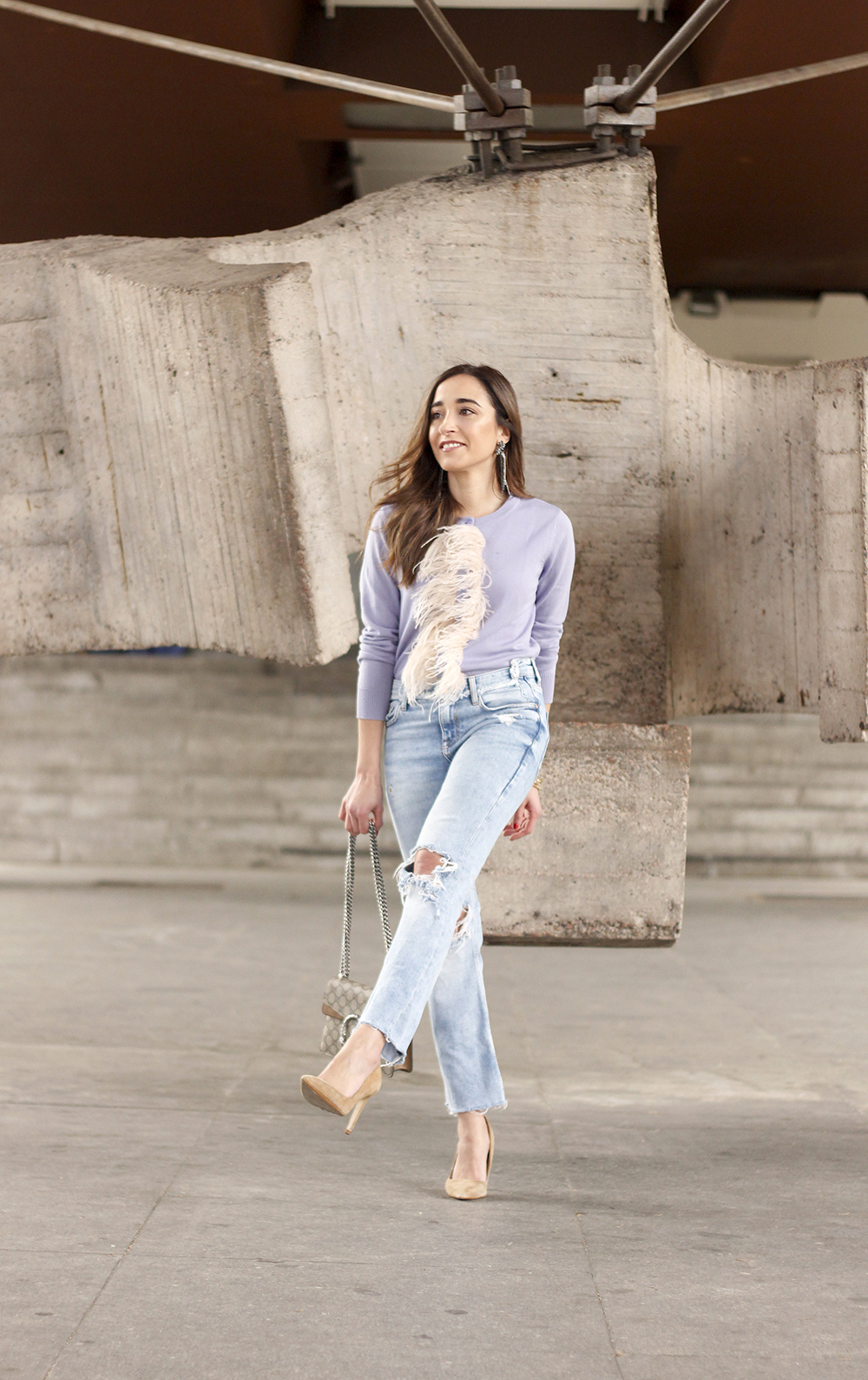lavender sweater ripped jeans gucci bag nude heels casual street style casual outfit 20193