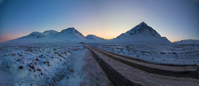 6 shot pano. road to Loch Eltiv sunset.