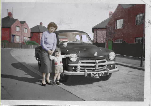 Me  Mam and Bob hudsons car 1958