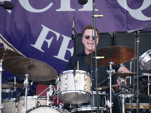 Stanton Moore with Galactic on Day 1 of French Quarter Fest - 4.11.19. Photo by Louis Crispino.