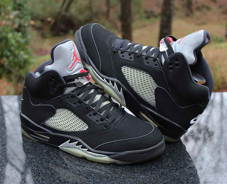 f292c203eea ... Nike Air Jordan 5 Retro OG Black Metallic Silver Red White 845035-003  Size 12.5