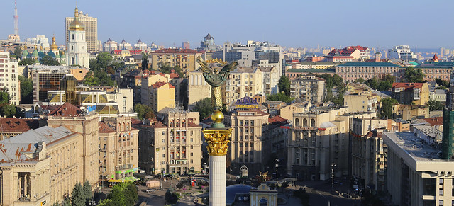 The Ukrainan Independece Monument is one of the main sight on the Euromaidan