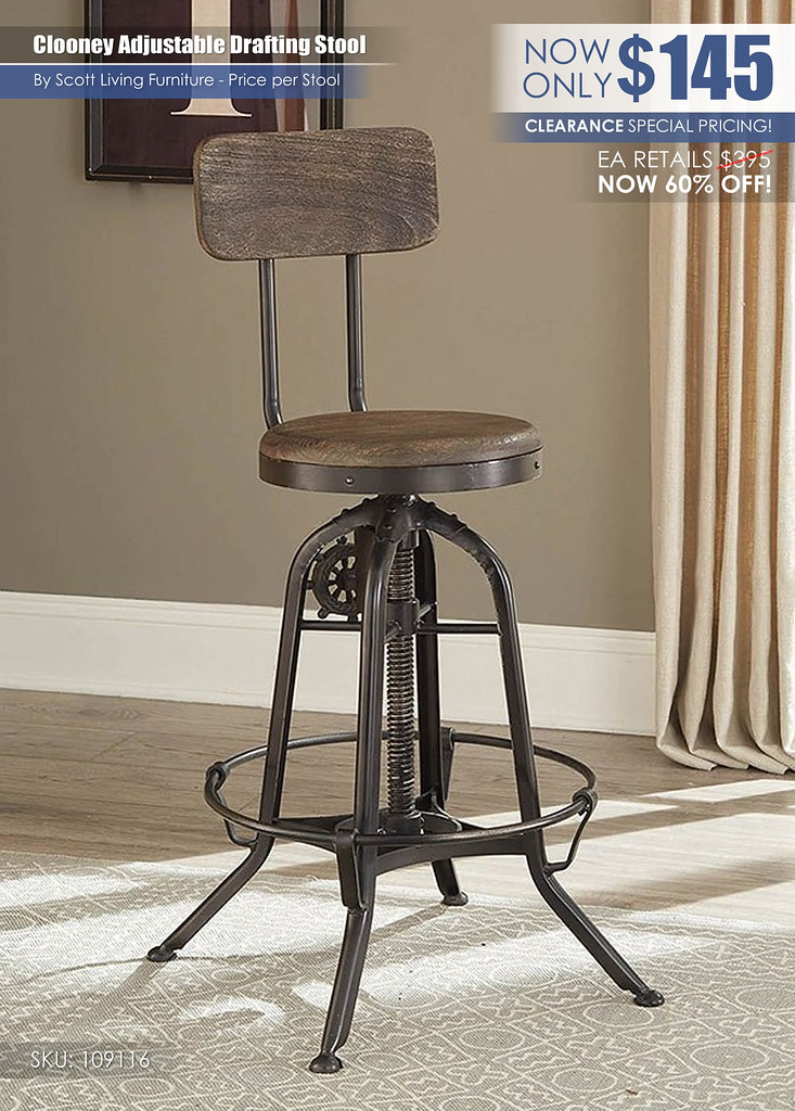 Clooney Adjustable Drafting Stool Scott Living_109116_Clearance