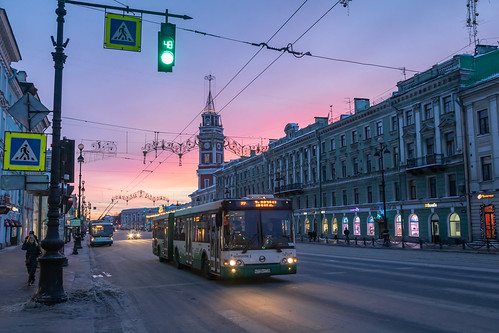 saintpetersburg landscape nevskyprospect street city outdoor old building town snow sunrise exterior blue colorful road winter purple orange house morning architecture skyscape russia yellow nature cold nevskyavenue landscapes outdoors petersburg russian st leningradoblast ru