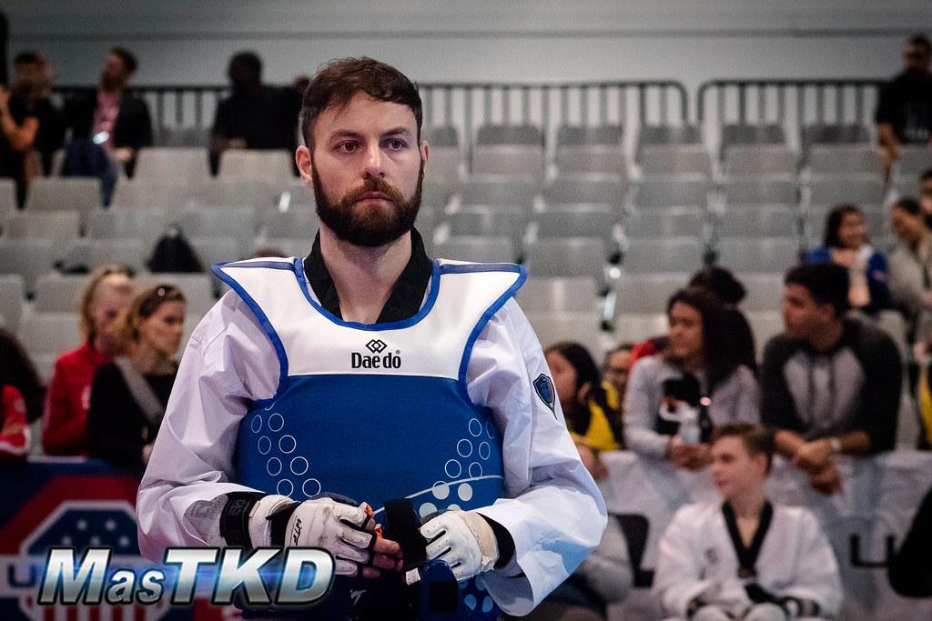 Damon Sansum durante su primera pelea del US Open Taekwondo G2 2019, en Las Vegas. Foto: Esteban Mora/MasTKD.com